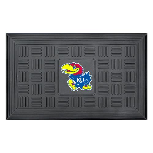 """19.5"""" x 31.25"""" Black and Blue NCAA University of Kansas Jayhawks Medallion Outdoor Door Mat - IMAGE 1"""