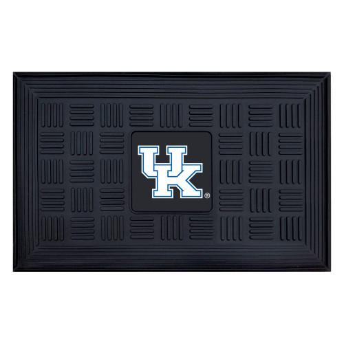 """19.5"""" x 31.25"""" Black and White NCAA University of Kentucky Wildcats Medallion Outdoor Door Mat - IMAGE 1"""