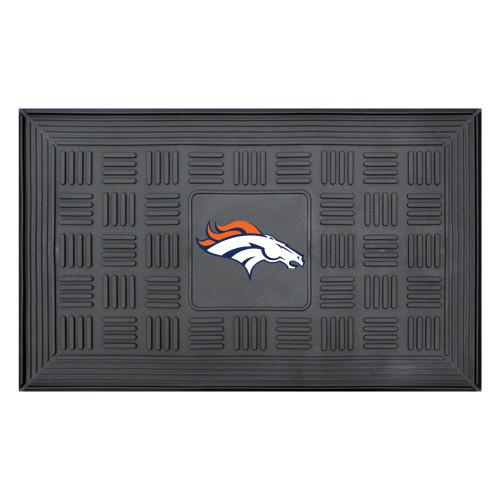 """19.5"""" x 31.25"""" Orange and Black NFL Denver Broncos 3-D Team Medallion Doormat - IMAGE 1"""