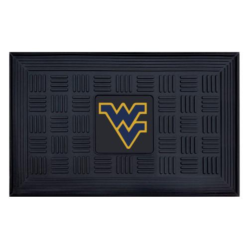 """19.5"""" x 31.25"""" Black and Blue NCAA West Virginia University Mountaineers Outdoor Door Mat - IMAGE 1"""