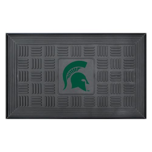 "19.5"" x 31.25"" Black and Green NCAA Michigan State University Spartans Outdoor Door Mat - IMAGE 1"