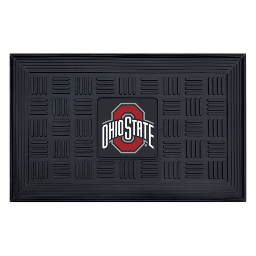"19.5"" x 31.25"" Black and Red NCAA Ohio State University Buckeyes Outdoor Door Mat - IMAGE 1"