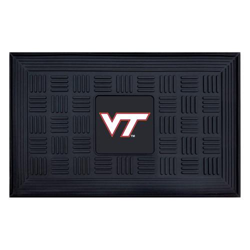 """19.5"""" x 31.25"""" Black and White NCAA Virginia Tech Hokies Outdoor Door Mat - IMAGE 1"""