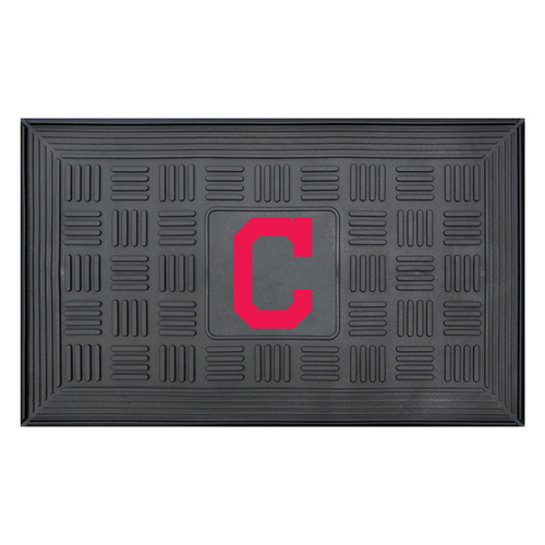 """19.5"""" x 31.25"""" Black and Red MLB Cleveland Indians Team Medallion Outdoor Door Mat - IMAGE 1"""