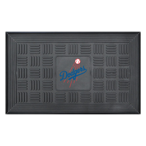 "19.5"" x 31.25"" Black and Blue MLB Los Angeles Dodgers Team Medallion Outdoor Door Mat - IMAGE 1"