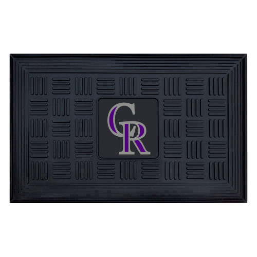 """19.5"""" x 31.25"""" Blue and White MLB Colorado Rockies Team Medallion Outdoor Door Mat - IMAGE 1"""