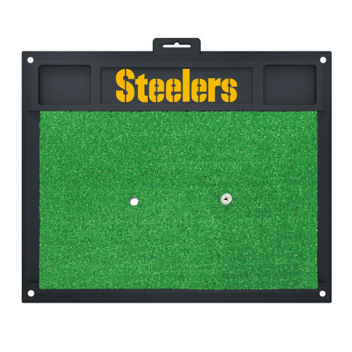 """17"""" x 20"""" Black and Green NFL Pittsburgh Steelers Golf Hitting Mat - IMAGE 1"""