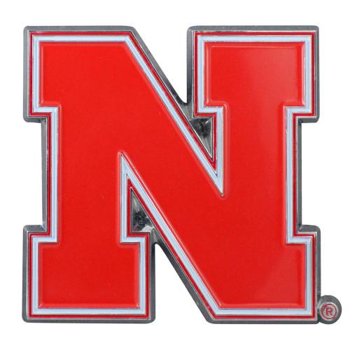 "Set of 2 Red NCAA University of Nebraska Cornhuskers Emblem Stick-on Car Decals 2.5"" x 3"" - IMAGE 1"