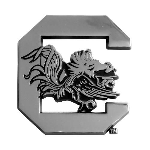 "Set of 2 Silver NCAA University of South Carolina Gamecocks Automotive Stick-On Car Decals 2.5"" x 3"" - IMAGE 1"