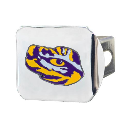 "4"" Silver NCAA Louisiana State University Tigers Class III Hitch Cover Auto Accessory - IMAGE 1"