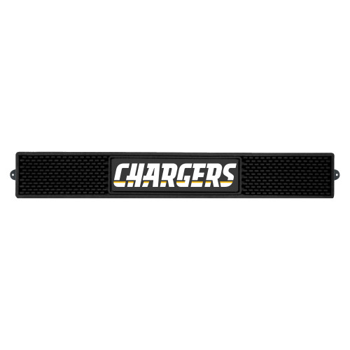 """3.25"""" x 24"""" Black and White NFL Los Angeles Chargers 3D Drink Mat - IMAGE 1"""