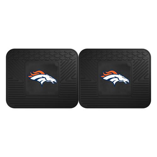 "Set of 2 Black and White NFL Denver Broncos Heavy Duty Rear Car Floor Mats 14"" x 17"" - IMAGE 1"