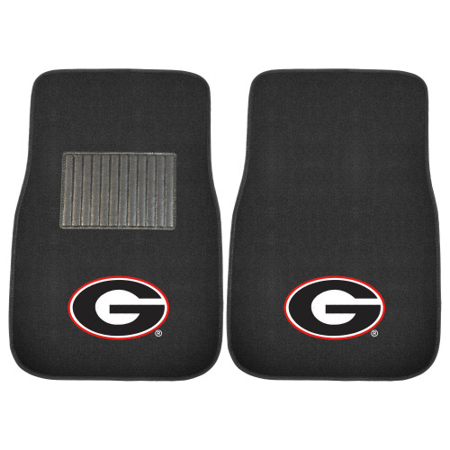 """17"""" x 25.5"""" Black and White NCAA University of Georgia Bulldogs Embroidered Front Car Mat Set - IMAGE 1"""