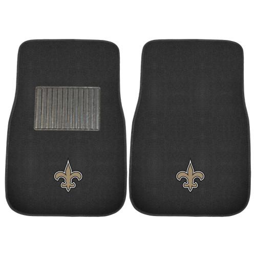 "Set of 2 Black NFL New Orleans Saints Embroidered Front Car Mat 17"" x 25.5"" - IMAGE 1"