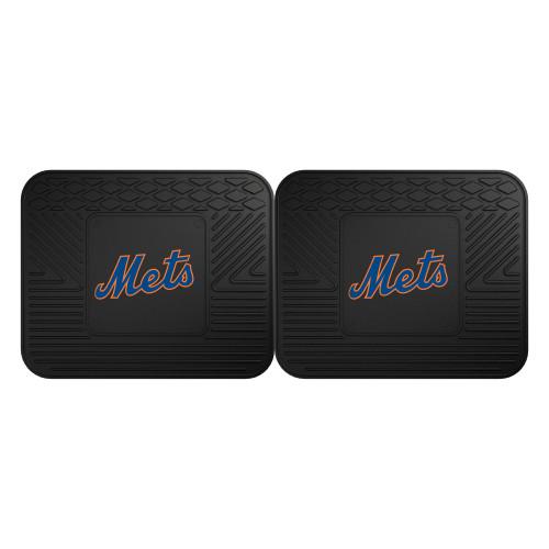 "Set of 2 Black and Blue MLB New York Mets Heavy Duty Rear Car Floor Mats 14"" x 17"" - IMAGE 1"