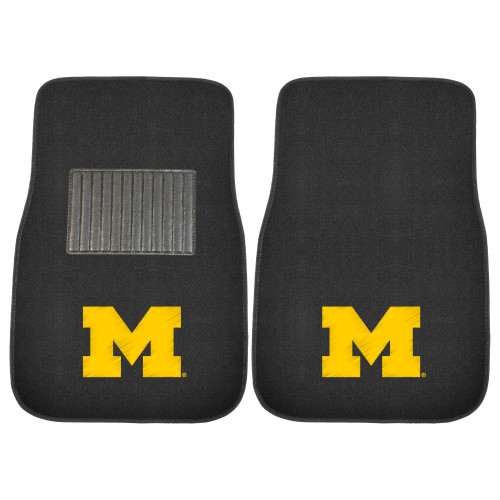 """Set of 2 Black and Yellow Michigan Wolverines Embroidered Car Mats 17"""" x 25.5"""" - IMAGE 1"""