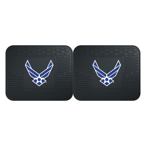 "Set of 2 Black and Blue U.S. Air Force Heavy Duty Rear Car Floor Mats 14"" x 17"" - IMAGE 1"