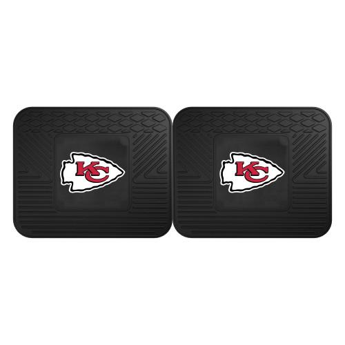 "Set of 2 Black NFL Kansas City Chiefs Heavy Duty Rear Car Floor Mats 14"" x 17"" - IMAGE 1"