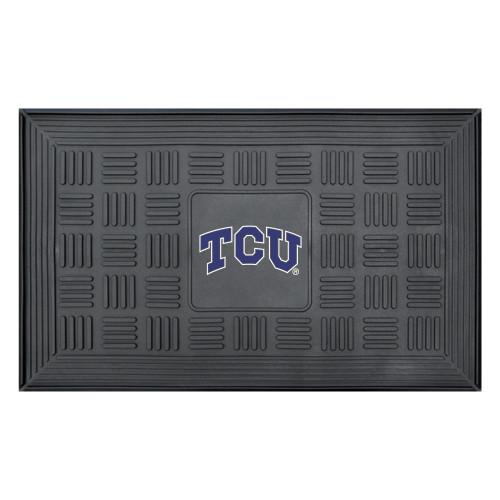 "19.5"" x 31.25"" Black and Blue NCAA Texas Christian University Team Medallion Door Mat - IMAGE 1"