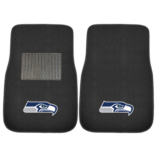 """Set of 2 Black NFL Seattle Seahawks Embroidered Car Mats 17"""" x 25.5"""" - IMAGE 1"""