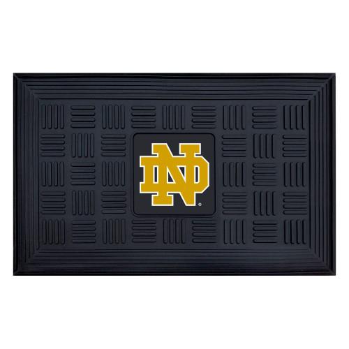 "19.5"" x 31.25"" Black and Yellow Contemporary NCAA Notre Dame Fighting Irish Outdoor Door Mat - IMAGE 1"