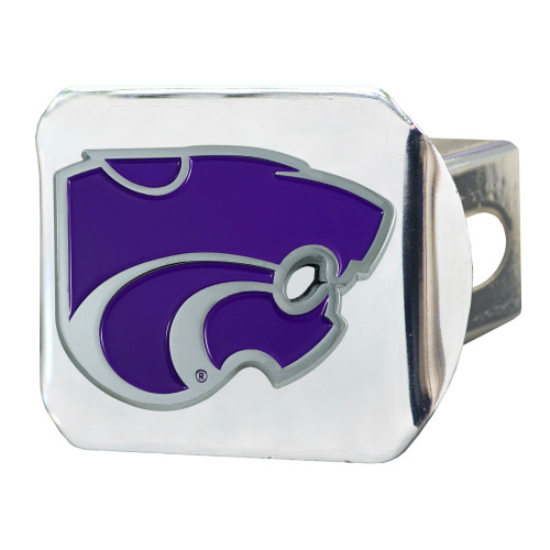 """4"""" Stainless Steel and Purple NCAA Kansas State Wildcats Hitch Cover - IMAGE 1"""