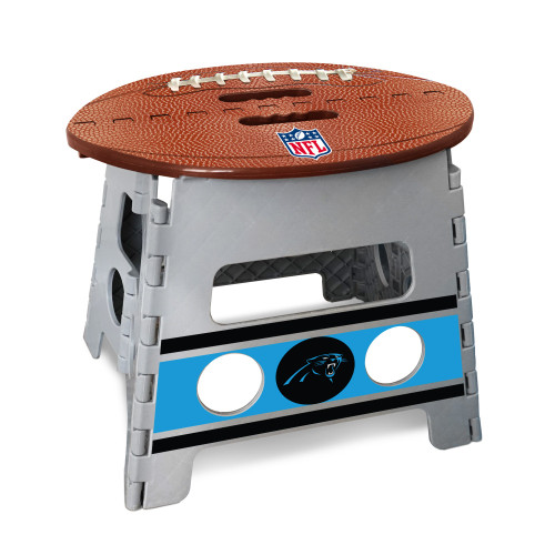 "14"" Gray and Brown NFL Carolina Panthers Folding Step Stool - IMAGE 1"
