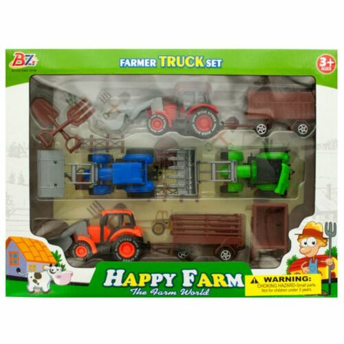 Pack of 2 Blue and Green Farm 9-Piece Tractor Truck and Trailer Set - IMAGE 1
