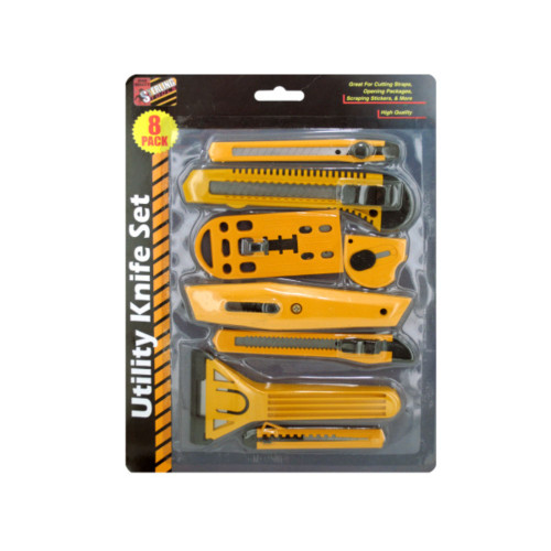 Pack of 4 Yellow and Black Multi-Purpose Utility 7-Piece Knife Sets - IMAGE 1
