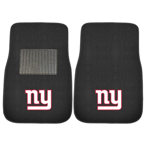 """Set of 2 Black and White NFL New York Giants Embroidered Car Mats 17"""" x 25.5"""" - IMAGE 1"""