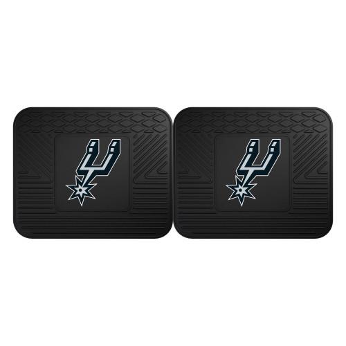 "Set of 2 Black NBA San Antonio Spurs Heavy Duty Rear Car Floor Mats 14"" x 17"" - IMAGE 1"