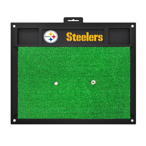 """20"""" x 17"""" Black and Green NFL Pittsburgh Steelers Golf Hitting Mat Practice Accessory - IMAGE 1"""