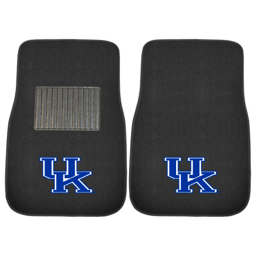 """Set of 2 Black and Blue NCAA University of Kentucky Wildcats Embroidered Car Mats 17"""" x 25.5"""" - IMAGE 1"""