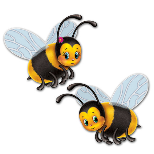 """Club Pack of 24 Yellow and Black Bumblebee Party Cutout Decorations 17"""" - IMAGE 1"""