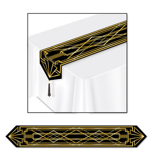 Club Pack of 12 Gold and Black Art Deco Table Runners 6' - IMAGE 1