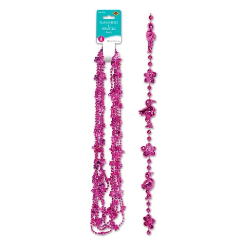 """Club Pack of 72 Pink Hibiscus and Flamingo Luau Beaded Necklaces 33"""" - IMAGE 1"""