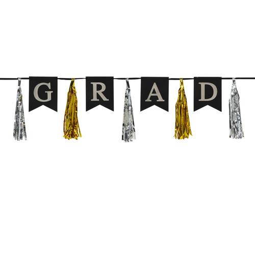 """Club Pack of 12 Gold and Silver Graduation Strung Pennant Banners Decors 78"""" - IMAGE 1"""