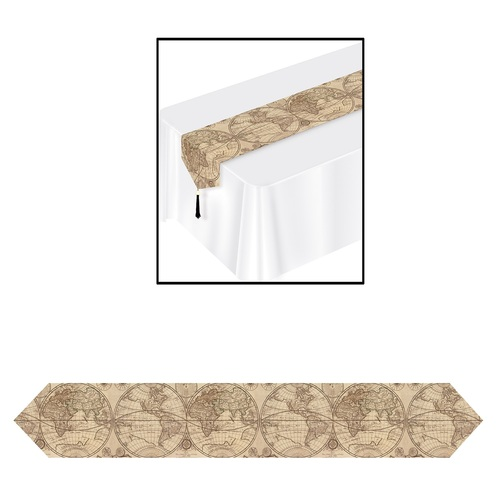 Club Pack of 12 Cream Brown Outdoor Graphic Around the World Table Runners 6' - IMAGE 1