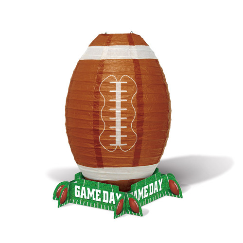 """Club Pack of 12 Brown and Green Football Lantern Centerpiece Party Tabletop Decors 11"""" - IMAGE 1"""