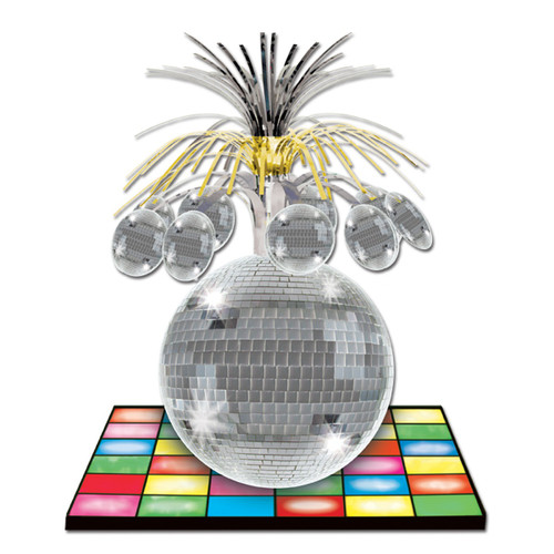 """Club Pack of 12 Gold and Silver Disco Ball Cutout Tabletop Centerpiece Decors 13"""" - IMAGE 1"""