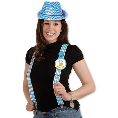 Club Pack of 12 Blue and White Adult Women's Oktoberfest Adjustable Costume Accessories - One Size - IMAGE 1