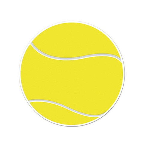 """Club Pack of 12 Yellow and White Tennis Ball Cutouts 10"""" - IMAGE 1"""