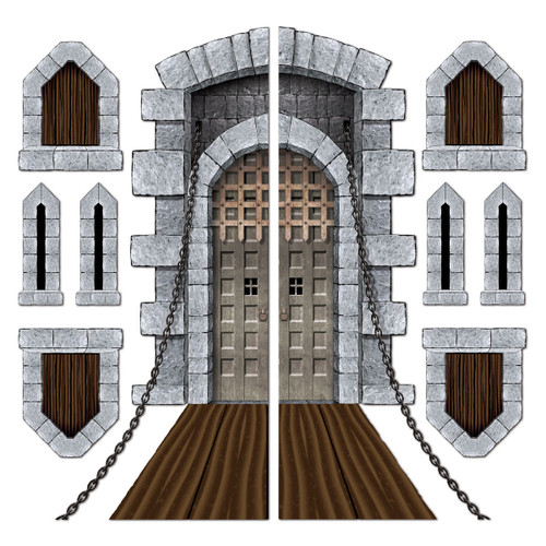 """Club Pack of 108 Gray Castle Door and Draw Bridge Wall Decor 71"""" - IMAGE 1"""
