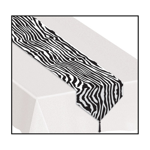 Club Pack of 12 Black and White Zebra Print Table Runners 6' - IMAGE 1