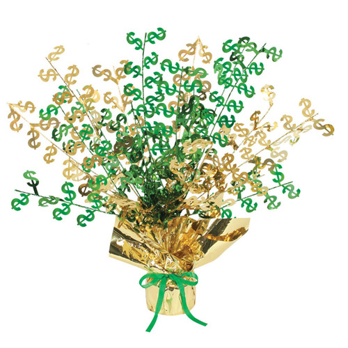 """Club Pack of 12 Green and Gold """"$"""" Gleam 'N Burst Centerpieces 15'' - IMAGE 1"""