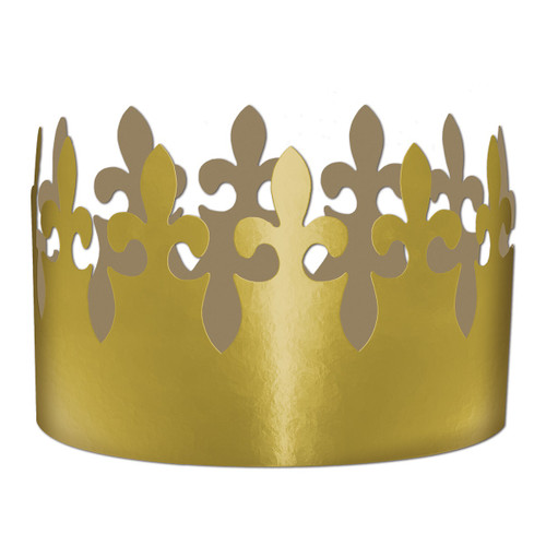 """Club Pack of 72 Gold Mardi Gras with Adjustable Band Party Crowns 4"""" - IMAGE 1"""