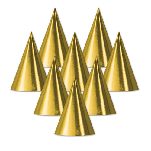 """Club Pack of 48 Gold Fun and Festive Adult Unisex Party Cone Hats Costume Accessories 6.75"""" - IMAGE 1"""