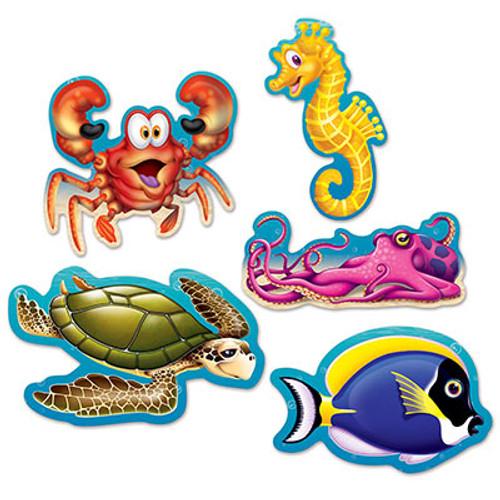 """Club Pack of 240 Multi-Color Under the Sea Mini Luau Cutouts 5"""" - IMAGE 1"""