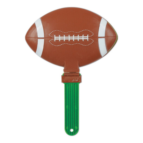 """Pack of 6 Brown and Green Giant Football Clapper Noisemakers 13.5"""" - IMAGE 1"""
