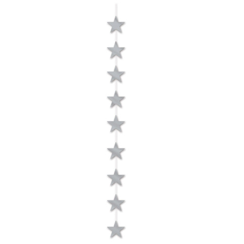 Club Pack of 12 Metallic Silver Star Stringer Hanging Party Decorations 6.5' - IMAGE 1